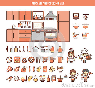 Free Kitchen And Cooking Infographic Elements For Kid Royalty Free Stock Photos - 54043348