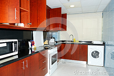 Kitchen in the apartment of luxury hotel