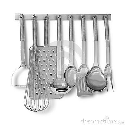 Kitchen appliances hanging on a rack