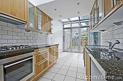 Kitchen with atrium