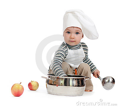 Kitchen boy with pan on white