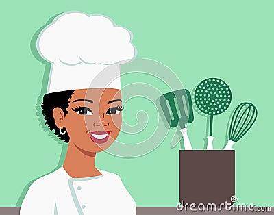 Kitchen Chef Cartoon Baker Illustration Of Woman Stock