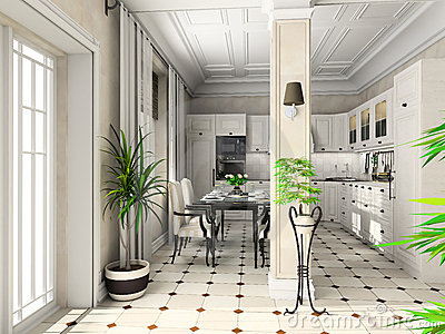 Kitchen with the classic furniture