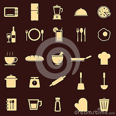 Kitchen color icons on dark background