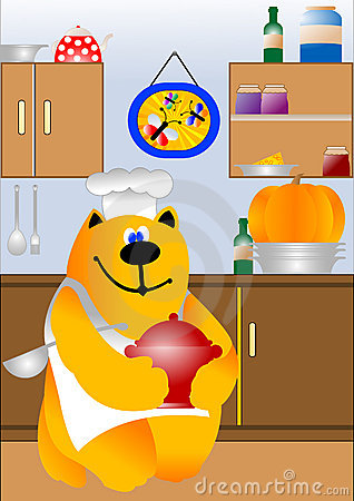 Kitchen with cooking cat chef