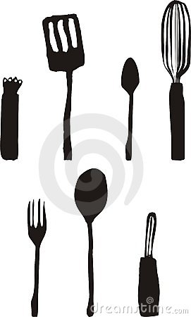 KITCHEN COOKING CULINARY UTENSILS BLOBS CLIP ART (click image to zoom)