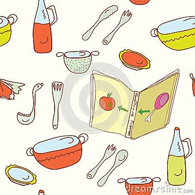 Free Kitchen Cooking Seamless Pattern Stock Photos - 17293203
