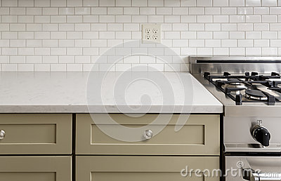 Kitchen Counter with Tile, Stainless Steel oven stove, Sh Stock Photo
