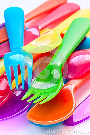 Kitchen cutlery made of colored plastic