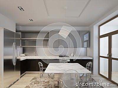 Kitchen with dark wood