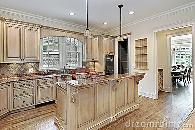 Kitchen With Double Tiered Island Stock Image Image 12408261