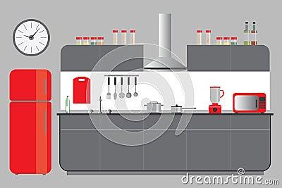Kitchen elevation with cabinets fridge hood microvawe for Kitchen cabinets elevation