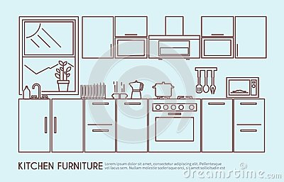 Kitchen Furniture Illustration Stock Vector Image 52758432