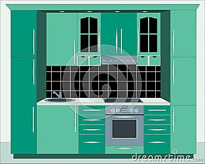 Kitchen furniture. Interiors.