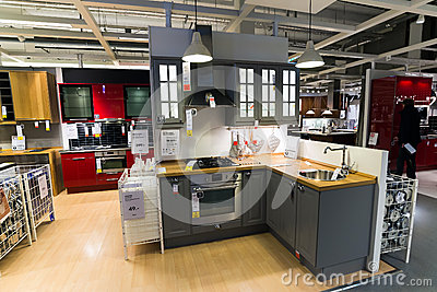 kitchen in the furniture store editorial stock image