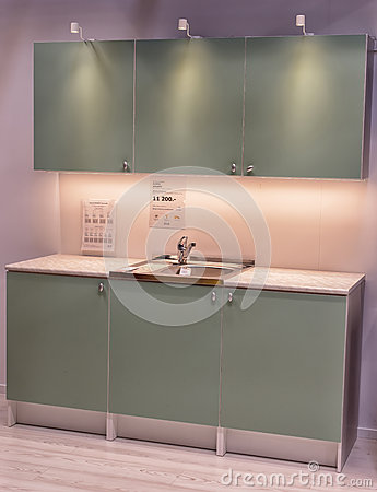 kitchen in furniture store ikea editorial stock image
