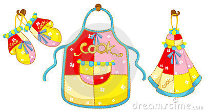 Kitchen glove and apron and hand towel