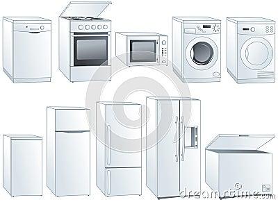 Home appliances illustrations set