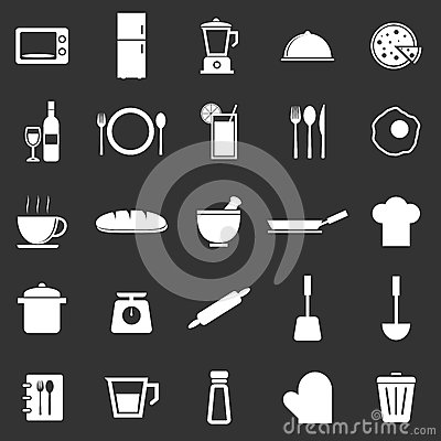 Kitchen icons on black background
