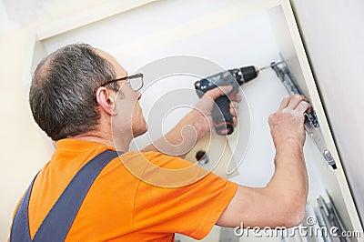 Kitchen installer at carpenter work