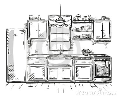 Kitchen interior drawing vector illustration stock vector - Plan cuisine ouverte 9m2 ...