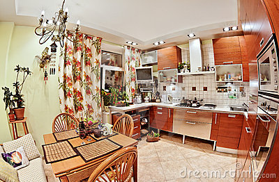 Kitchen interior with table and many utensils