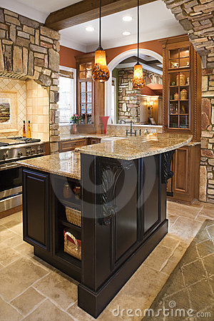 Free Kitchen Interior With Stone Accents In Affluent Ho Royalty Free Stock Photo - 12968765