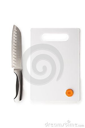 Kitchen knife and the chopping board