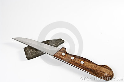 Kitchen knife and sharp stone