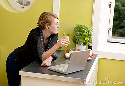 In Kitchen with Laptop