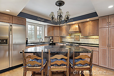 Kitchen with marble counter tops