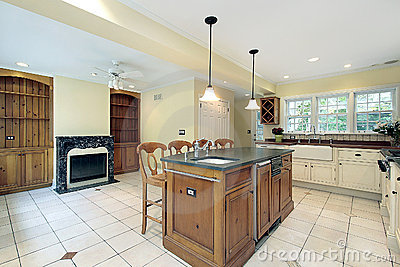 Kitchen with marble fireplace