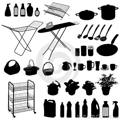 Kitchen objects, silhouette