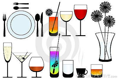 Kitchen objects silhouette vector