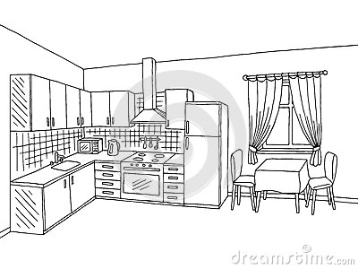 black and white cartoon kitchen wwwpixsharkcom