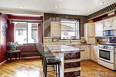 Kitchen room interior in contrast white and red colors