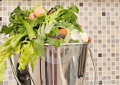 Kitchen scraps in bucket