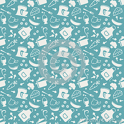Free Kitchen Seamless Pattern. Vector Background. Royalty Free Stock Image - 52503416
