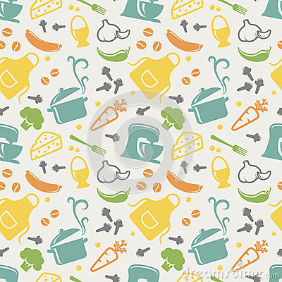 Free Kitchen Seamless Pattern. Vector Background. Stock Photography - 52503502