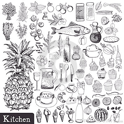 Free Kitchen Set Royalty Free Stock Image - 35718936