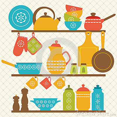 Free Kitchen Shelves Royalty Free Stock Images - 41594009