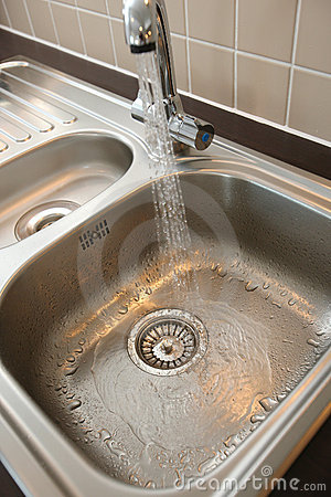 Kitchen Sink with Running Water