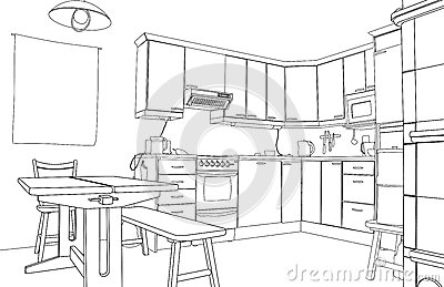 Kitchen sketch stock image image 28337621 for Interior designs kitchen sketches
