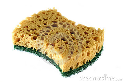 Kitchen sponge isolated on a white