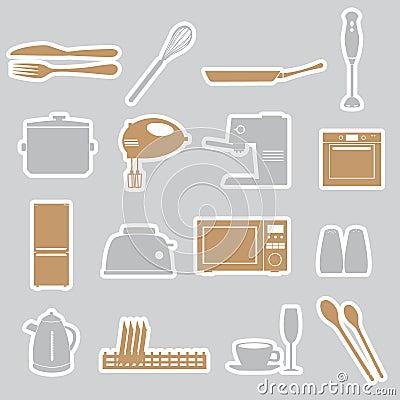 Kitchen stickers set eps10
