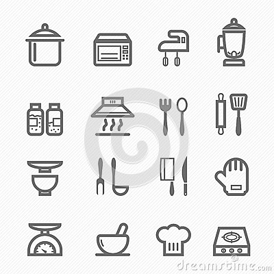Free Kitchen Symbol Line Icon Set Royalty Free Stock Photos - 33414078