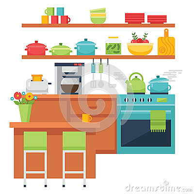 Free Kitchen Themed Illustration And Icons Stock Images - 62980804