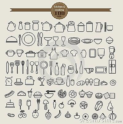 Free Kitchen Tool Icon Set And Food Icon Set Royalty Free Stock Photos - 61823118