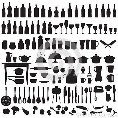 Free Kitchen Tools, Cooking Icons Royalty Free Stock Photography - 43847777