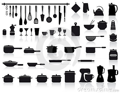 Kitchen tools, pottery and cutlery